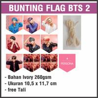 (READY STOCK) BUNTING FLAG BTS 2 - bisa custom gambar - garland flag