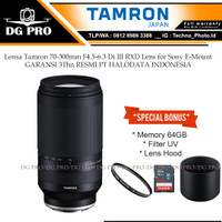 Lensa Tamron 70-300mm F4.5-6.3 Di III RXD Lens for Sony E-Mount