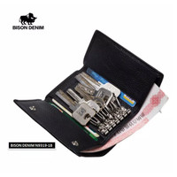 Dompet Kunci Kulit Asli Bison Denim Original Keychain Money Card Bag