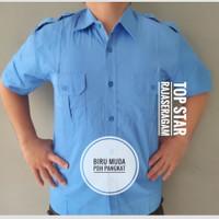 Seragam Baju Biru Muda Pangkat Kemeja Pendek Trans Net TV PDH PDL