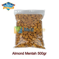 Kacang Almond Mentah Kupas Raw Whole Blue Diamond 500gr