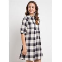 DRESS WANITA EDITION WOMENS ED72 BLACK Plaid Smock Dress
