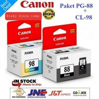 Paket tinta canon pg-88 black dan cl-98 color ink catridge E500,E510