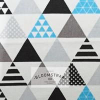 Kain Kanvas segitiga abu biru canvas motif segi tiga geometric 0,5m