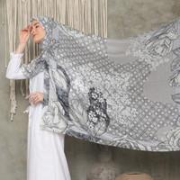 Khadijah Snow Premium Voal Hijab Jilbab Motif Segi Empat Lasercut