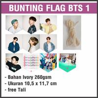 (READY STOCK) BUNTING FLAG BTS 1 - bisa custom gambar - garland flag