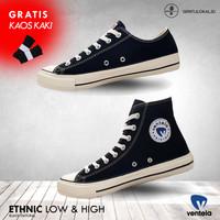 VENTELA ETHNIC BLACK NATURAL Sepatu Vantela Original Ventella 70s BTS
