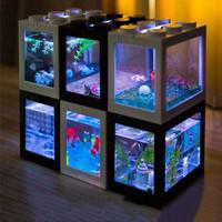 Akuarium Ikan Cupang Akrilik Aquarium Mini Acrylic Bening LAMPU LED