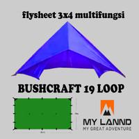 Flysheet bushcraft 3x4 multifungsi 19 loop atau 19 lubang - Orange