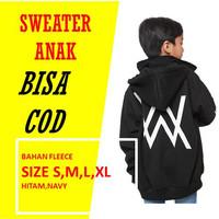 sweater anak laki laki hoodie jaket cowok Alan walker - Hitam, S