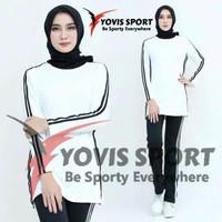 BS12 Baju Kaos Stelan For Fitnes Senam Lari Gym Olahraga Wanitay/yovis