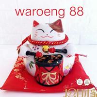 lucky cat manekineko (Drumbell Emas Merah) ORI JAPAN