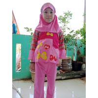 Baju Muslim Anak perempuan 3 - 4 Tahun Setelan Celana Bahan Kaos