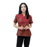 Blouse Batik Wanita Model Cheongsam Modern Merah Resleting Belakang - S