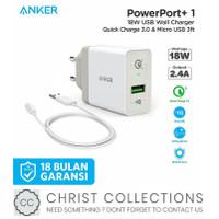 ANKER KEPALA CHARGER FAST CHARGING 18W DUAL USB + KABEL MICRO B2013 - Putih