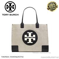 Tory Burch Ella Canvas Tote White In Black Tote Bag Original 100%