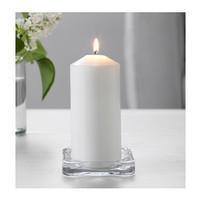 IKEA GLASIG Piring / wadah / tempat lilin, kaca bening, 10x10x1,5cm