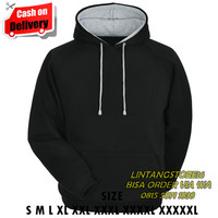 jaket hoodie big size 2XL 3XL 4XL 5XL zipper hoodie jumbo HITAM-P ABU - S
