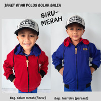 Jaket Anak Laki-laki Polos Parasut Bolak Balik Biru Merah
