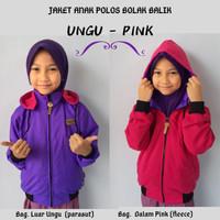 Jaket Anak Perempuan Polos Parasut Ungu Pink