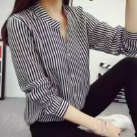 Baju Atasan Wanita Kemeja Wanita Ainy Salur Bahan Katun LD90cm