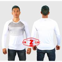 Kaos Olahraga Rashgard Lengan Panjang Compression Shirt UA Gym Sporthy - Putih, L