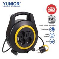 YUNIOR LY-118SK Kabel Roll Box Turbo 4 Lubang + Saklar 20M LY-118 SK
