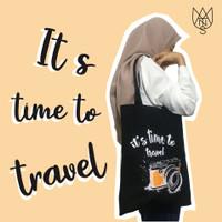 """Tote bag """"Travel"""" / Bahan Dinir / Sleting / Tas Pria dan wanita - Hitam, Bahan Dinir"""