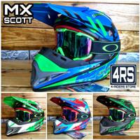 Paket Helm Cross Anak Scott MX + Kacamata Goggle 100%