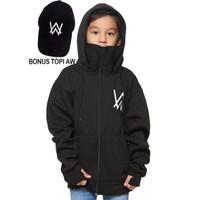 sweater jaket hodie ninja alan walker anak hitam - 6-7 tahun