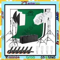 lighting studio fotografi set screen lengkap duble softbox umbrella