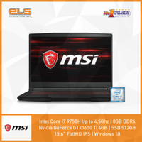 MSI GF63-9SCSR-882ID - Black [i7 9750H-8GB-512GB-GTX1650Ti-W10]