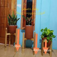 1 set standing planter(3pc=3ukuran) /standing pot/rak kayu/rak tanaman - Natural