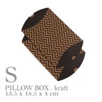 PILLOW BOX S MONOCHROME / ZIG ZAG / SMALL (13.5x18.5x4 cm) BROWN KRAF