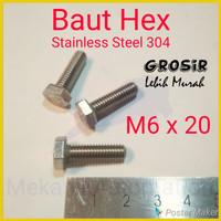 Baut Hex M6 x 20 SUS304