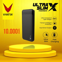 VYATTA ULTRA SLIM X POWER BANK TYPE C Input, DUAL, 2A FAST CHARGE - Hitam