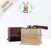 Knock box kopi stainless bin 15 cm with solid wood box