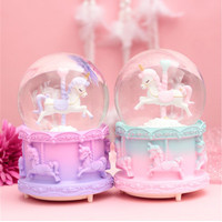 Bola Kristal Berputar Unicorn Snowball Kotak Musik+Salju +Lampu - ungu pink