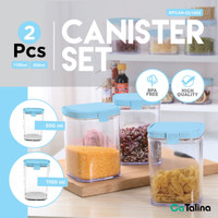 2 Pcs Toples Serbaguna Set | 2 Pcs Canister Set - 1100ml n 500ml, No Bubblewrap