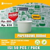 Paper bowl 800 ml microwave 50pcs/pack tahan panas dan tebal