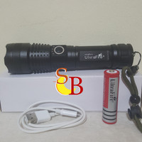 Paket Senter LED XHP 50 Ultrafire Cree baterai 18650 Red Rechargeable