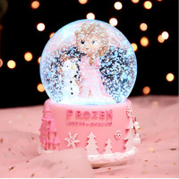 Snowball Bola Kaca Putri Salju Kotak Musik Unicorn Kartun Bola Krista - Biru