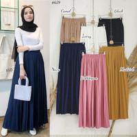 Rok Panjang Wanita Muslim Plisket Polos - Basic colour