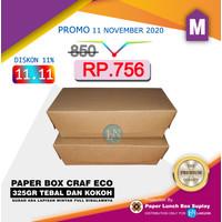 PAPER LUNCH BOX UK.M POLOS BAHAN CRAFT 280 GRAM / KEMASAN MAKANAN