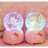 Kotak Musik Bola Kaca Snowball Kartun Hello Kitty Salju +Lampu - bear