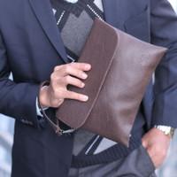 Hand Bag JN / Pouch Bag Pria Wanita / Tas Tangan Gadget Clutch Dompet - Hitam