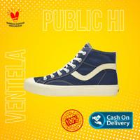 Sepatu Ventela Public High Navy Original Sneakers Pria