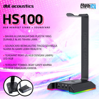 dbE HS100 RGB Headset Stand 7.1 Virtual Surround with USB Hub