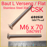 Baut L Flat M6 x 70 Verseng SUS304