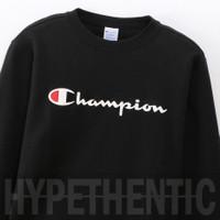 Champion Men Sweatshirt Script Logo Crewneck Black Original / Sweater - Black, L
